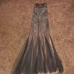 Grey and nude sparkly floor length formal dress